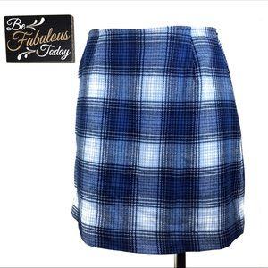 Vintage 90s The Limited Blue Plaid Skirt